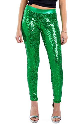 Tipsy Elves Women's Shiny Holiday Sequin Leggings (Green, XX-Large)