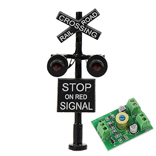 JTD1507RP 1 Set N Scale Railroad Train/Track Crossing Sign 2 Heads LED Made + Circuit Board Flasher-Flashing Red Train Stop on red Signal Lights Decoration and Party