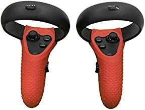 Esimen Controller Skin for Oculus Quest Rift S Premium GelPremium Gel Shell Silicone Grip Covers Protection Covers Featuring Low-Profile Friction Studs (Set of 2) (Red)