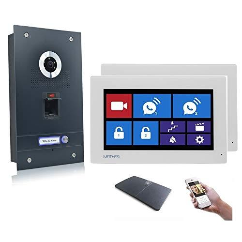 Fingerprint Video Türsprechanlage Gegensprechanlage mit 7″ Monitor, mit oder ohne WLAN Schnittstelle, Fischaugenkamera 170 Grad, Größe: 2x7'' Monitor mit WLAN Schnittstelle