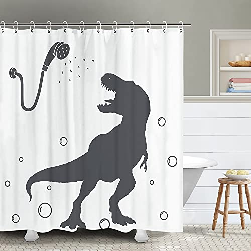 """RosieLily Kids Shower Curtain, Cool Shower Curtain, Dinosaur Shower Curtain, Funny Shower Curtains, Kids Shower Curtain Set with 12 Hooks, Cool Shower Curtains for Bathroom, 72""""x72"""""""