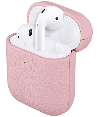 Fooyin [Handmade Series] Étui en Cuir pour AirPods, Protection Coque (Cuir de litchi) Housse Compatible avec Apple AirPods Pro 1 & 2, Rose