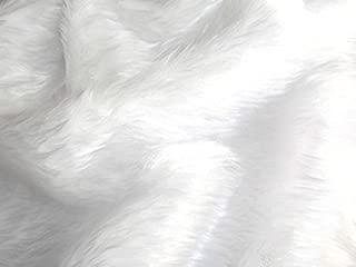 CRS Fur Fabrics Tela de Piel de Pelo de imitación, Lisa, en Blanco Brillante