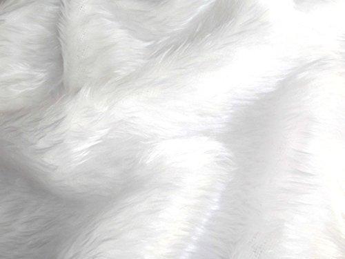 CRS Fur Fabrics Tinta Unita Divertimento Finta Pelliccia Tessuto Materiale Brillante Bianco