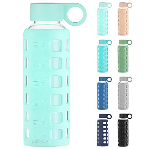 purifyou Premium Glass Water Bottle - 12oz Glow in the dark | with Non-Slip Silicone Sleeve & Stainless Steel Lid Insert, Easy twist caps, Time and Volume Markings | for Water, Juice, Milk, Container