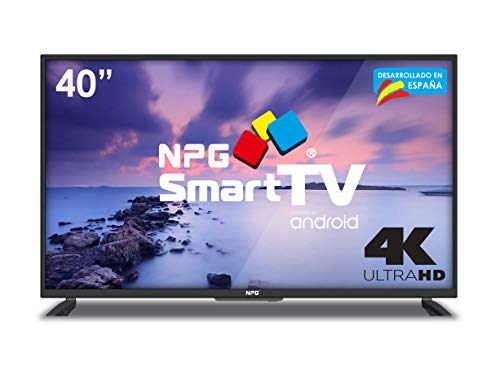 "Televisore 40"" LED NPG Smart TV Android Ultra HD 4K TDT2 H.265 WIFI Risoluzione 3840x2160 USB Registratore Screen Mirroring Quad Core"