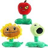 LZQ Plants Vs. Zombies 1 2 Stuffed Plush Toy 8' Tall for Children, Geart Gift for Halloween, Christmas (Peashooter&Sunflower&Cherry Bomb)