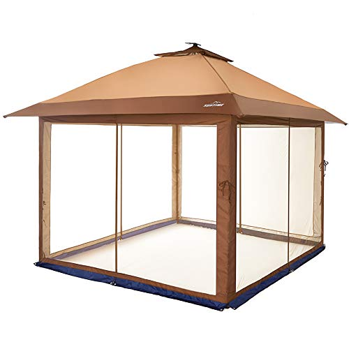 Outdoor Patio Garden Gazebo Canopy with Mosquito Netting and Solar Led Light Pop Up Gazebo for Patios Large Garden Top Gazebo Easy Up