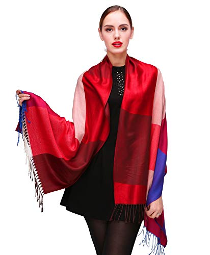 Shmily Girl Shmily Girl Damen Schultertuch Stola - Eleganter Pashmina Schal mit floralem Muster in vielen Farben (One Size, Rot-c103)