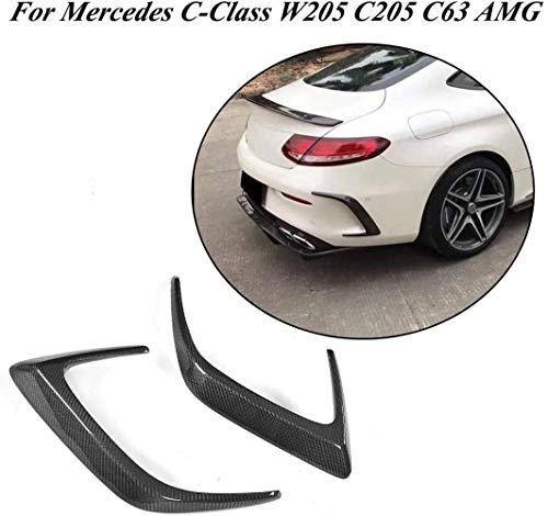 NB-LY W205 CF Heckstoßstangenverkleidung, passend für Mercedes Benz C Klasse W205 C205 C63 AMG Stoßstange 2-türig 2015-2018 Kohlefaser Lufteinlass Entlüftungsblende Schürze Spoiler 2 Stück/Set