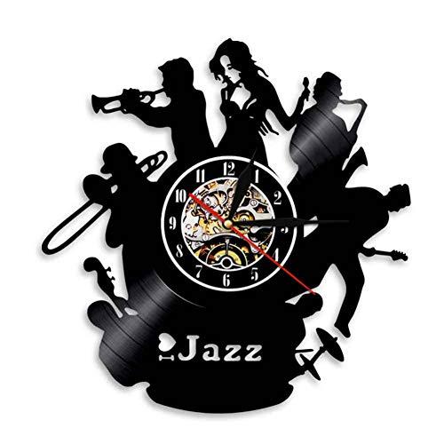 TIANZly Jazz Dekoration Schallplatte Wanduhr 12 Zoll Musikinstrument Led Lampe Lasergravur