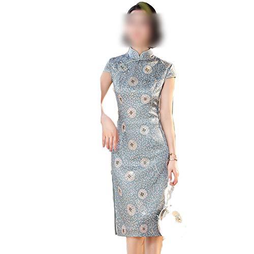 Qipao Vintage Señoras Slim Cheongsam Estilo Chino Longitud de la Rodilla Elegante Mujer Vestido de Fiesta Primavera Botón Vestido Vestidos Tamaño M-3Xl
