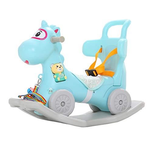 Schaukelpferd LITING Trojan Kinder Plastikschaukel Wiegen EIN Jähriges Baby Spielzeug Kleine Dual-use 0-1 Geburtstag (Color : Blue)