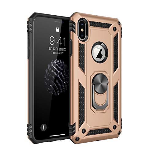 Jeack Hülle Kompatibel iPhone XS Handyhülle,360 Grad Drehbar Ringhalter Cover Silicone Magnetische Auto Halterung Schutzhülle Stoßdämpfung Bumper Case für iPhone XS Handy Hüllen (Gold)