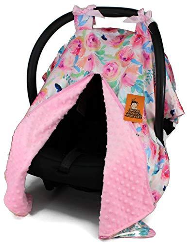 Dear Baby Gear Baby Car Seat Canopy Cover, Blue Butterflies Watercolor Flowers, Pink Minky