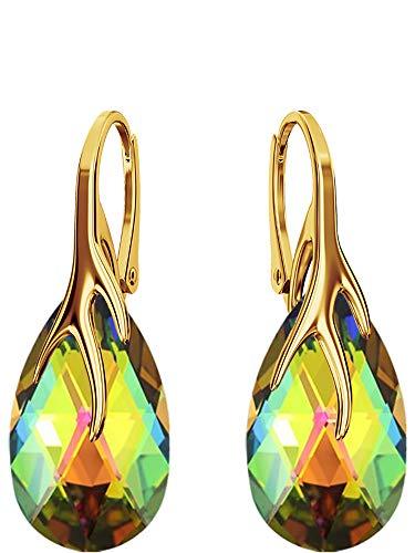 Crystals & Stones Silber 925/Vergoldet 24 K *MANDEL* - *Farben Varianten* Schön Damen Ohrringe Silber 925 - mit Kristallen von Swarovski - Wunderbare Ohrringe mit Geschenkbox BAP39 (Vitrail Medium)