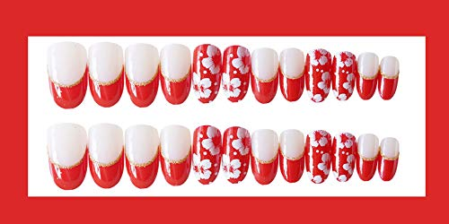 24 PCS Set Red Sakura Cherry Blossom Printing Press On Nails Christmas Red False Nails Fake Nails with Glue and Adhesive Tab 8
