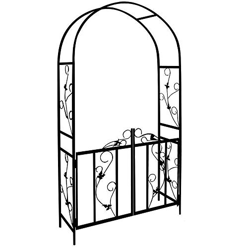 Finetree Metal Garden Arch Arbours Wedding Archway Plant Trellis Rose Arches with Gate