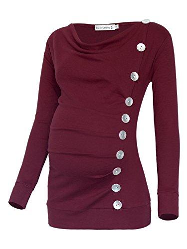 Women's Long Sleeve Cowl Neck Buttons Maternity Nursing Shirt Top Burgundy
