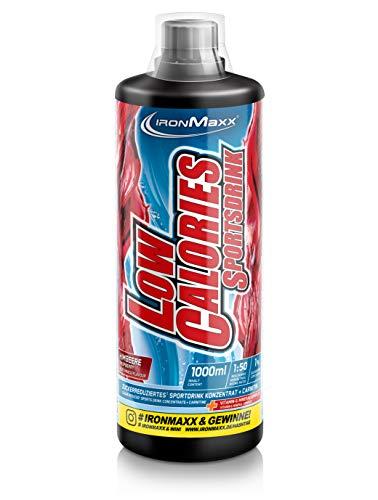 IronMaxx Low Calories Sportsdrink Sirup - 1000ml - 66 Portionen - Himbeere - Konzentrat mit weniger als 1 kcal auf 100 ml Fertigdrink - Enthält wertvolle Vitamine & L-Carnitin - Designed in Germany