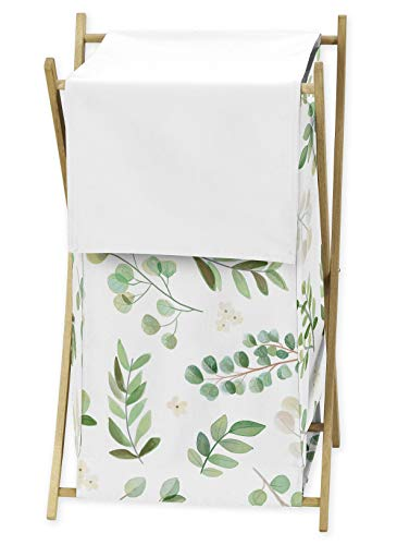 Sweet Jojo Designs Floral Leaf Baby Kid Clothes Laundry Hamper - Green and White Boho Watercolor Botanical Woodland Tropical Garden