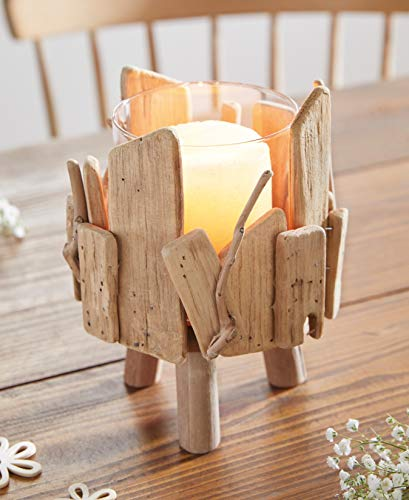 Dekoleidenschaft Windlicht aus Treibholz mit Glas-Einsatz, Kerzenständer, Teelichthalter