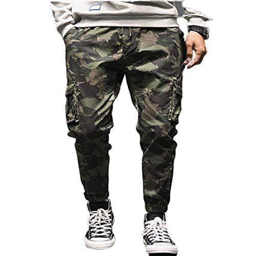 Pantalones de Trabajo de Combate de Carga para Hombre Ropa de Trabajo de almacén Pantalones de Lona elásticos duraderos Resistentes al Desgaste con cordón, Bolsillos y Patas de viga 4X-Large