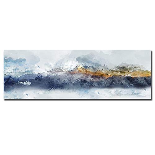 Acuarela, amarillo y azul, pintura en lienzo de montaña, cuadros de pared decorativos modernos, pintura abstracta para decoración del hogar, impresiones de 80x180cm sin marco