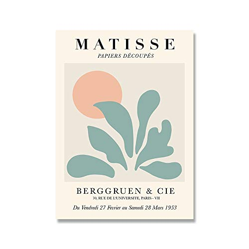 Póster de planta de flor de Matisse, lienzo de mujer abstracta, arte de pared minimalista, impresión, lienzo moderno sin marco, pintura E 60x90cm