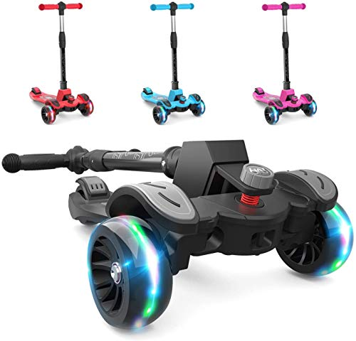 BAYBEE Penta Scooter for Kids, 3 Wheel Kids Scooter, Smart Kick Scooter with Fold-able & Height Adjustable Handle, Runner Scooter with Extra-Wide Skate Scooter for Kids Age 3-14 Years upto 100 Kgs