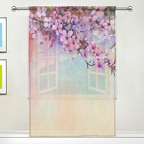 NaiiaN per la casa Camera da Letto Soggiorno Decor Fiore Fiore di ciliegio Giapponese Sakura Fiore Tendaggi Trasparenti Tendaggi per Finestra Tenda Re