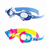 Kids Swim Goggles, PORTHOLIC Pack of 2 Swimming Goggles for Childs Children Teens (Age 4-16), Swim Glasses Leak Proof Anti-fog UV Protection Adjustable Silicone Strap Clear Wide Vision