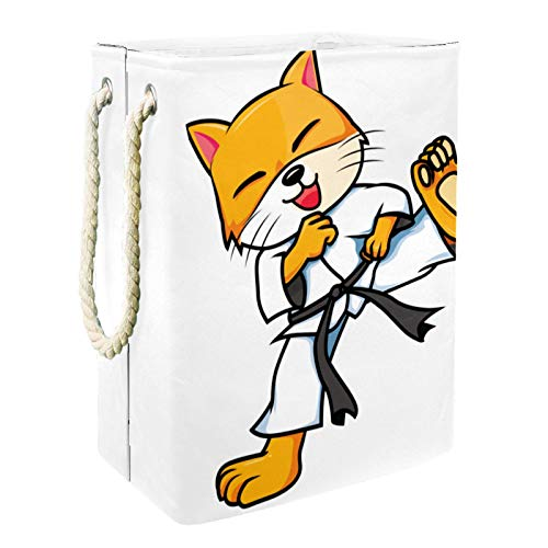 Laundry Hamper Karate cat Laundry Hamper Self-Standing Waterproof & Collapsible Laundry Bags Tall Laundry Basket with Extended Handle 49x30x40.5cm