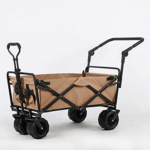 GAXQFEI Outdoor Utility Wagon Folding Garden Beach Shopping Camping Cart Garden Trolley Carts Foldable Wagon Trolley,Brown,One Szie