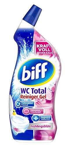 Biff WC Total Reiniger Gel Frühlingsblüte, 1 x 750 ml, WC-Reiniger entfernt Kalk und Urinstein