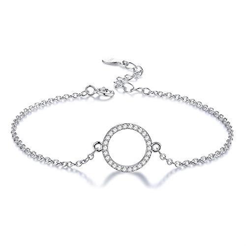 Inveroo Pulsera de Plata esterlina 925 para Mujeres Brillantes Zirconia cúbicas círculo Encanto Pulseras Cadena eslabón joyería de Plata