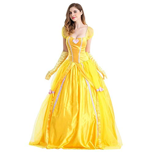OBEEII Damen Belle Kostüm Märchen Beauty and The Beast Kleid Karneval Erwachsene Festlich Party Prinzessin Verkleiden Halloween Weihnachten Cosplay Prom Ball Fotografie Requisiten 2-teiliges Set M