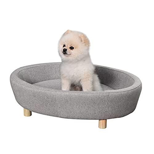 Pawhut Hundesofa Haustiersofa Oval morderne Gebürstetes Stoff für mittelgroßen Hunde und Katzen 81 x 61 x 24 cm Grau