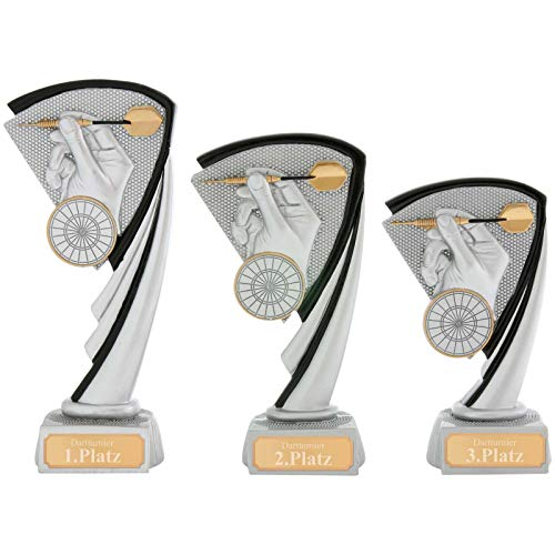 Pokalset je 1x Größe S, M, L Pokal Dart Pokal Serie Arras 3 Größen Hart PVC schwer mit Gravur jetzt selbst gestalten