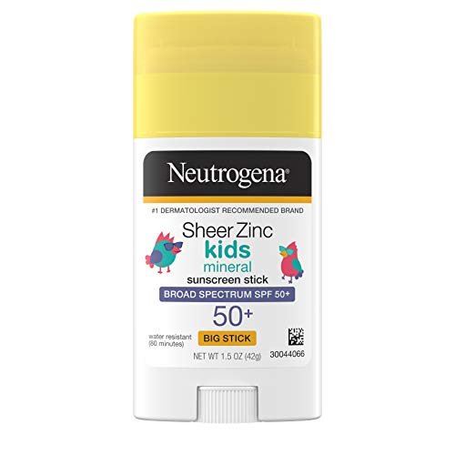 Neutrogena Sheer Zinc Oxide Kids Mineral Sunscreen Stick, Broad Spectrum SPF 50+ & UVA/UVB Protection & Water Resistant with Residue-Free, No-Mess Application, Oil- & Paraben-Free, 1.5 oz