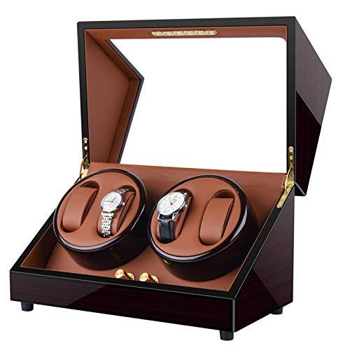 Caja enrolladora de Reloj Profesional Universal para 4 Relojes automáticos, iluminación LED incorporada, Exterior de Pintura de Piano de Carcasa de Madera y Motor Extremadamente silencioso, con