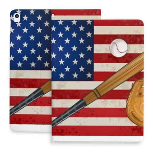 Funda para iPad 10.2 Funda con Bandera Estadounidense Guante de Bate de béisbol Compatible con iPad 8th Gen (2020) / 7th Gen (2019) con portalápices, Funda Protectora Funda para iPad 2020 y 2019