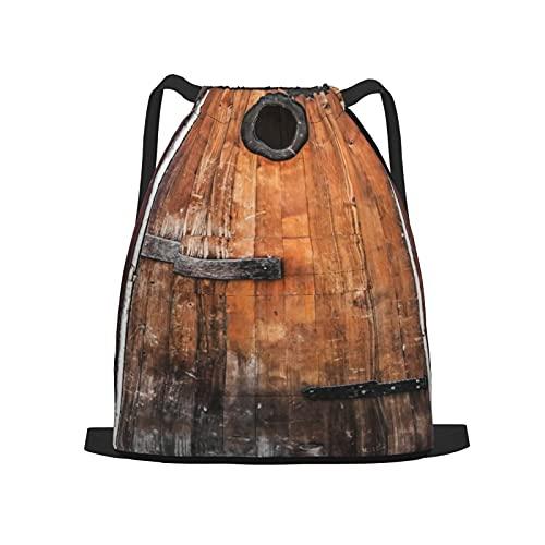 Zaino sportivo con coulisse,Rustico, fotografia di legno di pino antico a, Zaino da palestra per borsa a tracolla da campeggio da viaggio per uomo, donna, bambino.