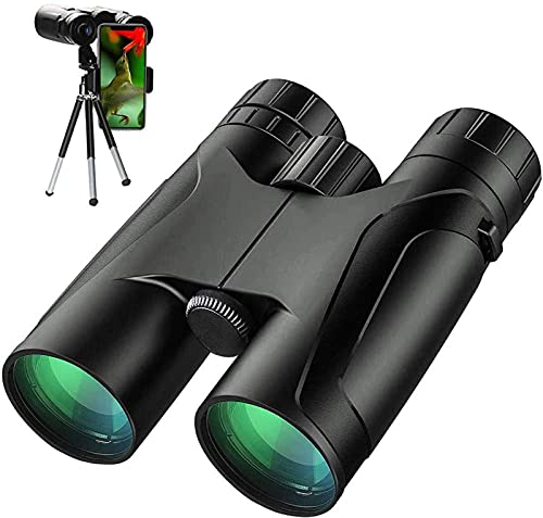 MWKL Potentes prismáticos 12X42, prismáticos HD de Alta Potencia para Adultos, prismáticos Impermeables con Prisma FMC BAK4 duraderos y Transparentes
