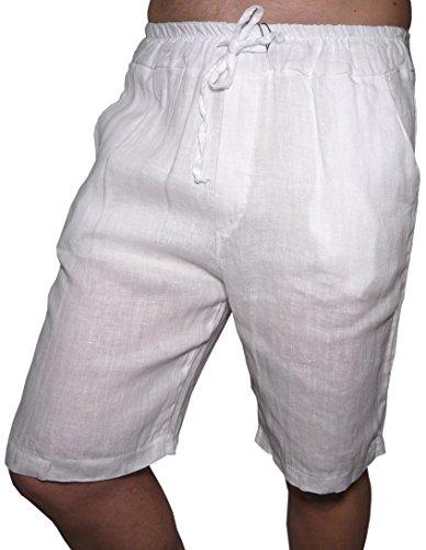 Pantalone Corto Bermuda Puro Lino Leggero Fresco Estivo Moda Slim Tasche Uomo Ragazzo (52, Bianco)