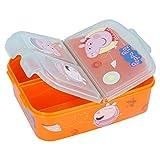 Peppa Wutz Brotdose mit 3 Fächern, Kids Lunchbox,Bento Brotbox für Kinder - ideal für Schule, Kindergarten oder Freizeit