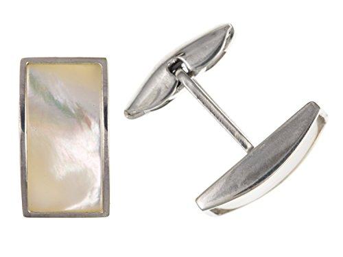 Nacre rectangulaire Boutons de manchette – Argent Sterling 925 – Livré dans une boîte cadeau gratuit ou sac cadeau