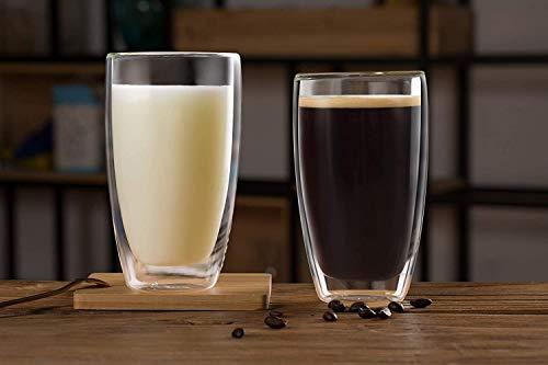 COLOCUP ダブルウォールグラス コーヒーカップ お茶カップ 耐熱 保温 保冷 おしゃれ 二重構造 2個セット (450ML)