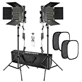 Neewer 2 Packs Advanced 2.4G 660 LED Video Light with Softbox Kit, Dimmable Bi-Color LED Panel with 2.4G Wireless Remote, LCD Screen, Softbox Diffuser and Light Stand for Portrait Product Photography