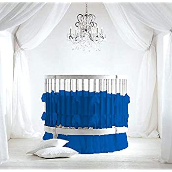 "Bedding Empire 42"" Dia Round Ruffle Crib Bedding Set Egyptian Cotton 500 TC 5-Piece Set Fitted Sheet, Ruffle Skirt,Comforter,Bumper,Pillowcase (Blue,)"